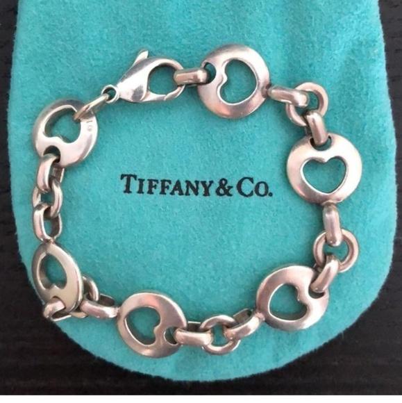 fff624c6fa57d Tiffany Retired Sterling Heart Stencil Bracelet